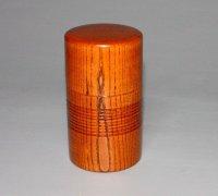 茶筒欅 縦 8cm 横 8cm 高さ 14.5cm 本漆塗り