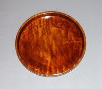 丸盆 楓縮杢 直径 20.5 cm 高さ 2.6 cm 本漆塗り