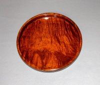 丸盆 楓縮杢 直径 20 cm 高さ 2.5cm 本漆塗り